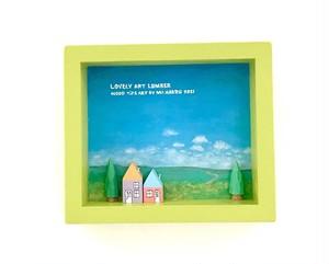 小さなサイズの草原の画(レタスグリーン色)