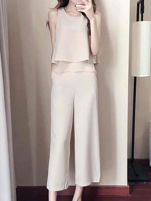 【set】New design fashion simple chiffon set