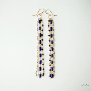 I-Lines Earrings(Lapislazuli×Sapphire×Iolite)