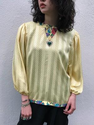 Diane freis lemon yellow  butterfly × floral × dots tops ( ダイアン フレイス    レモンイエロー  蝶々 × ドット柄 × 花柄 トップス