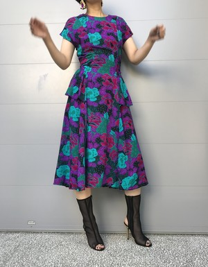 Vintage rayon floral peplum dress