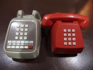 電電公社 昭和のプッシュ式電話型小物入れ2個セット ジャンク