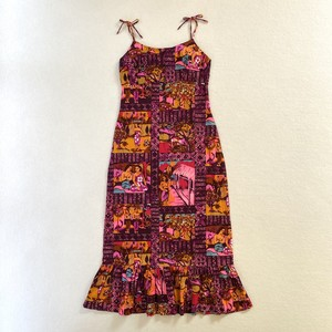 60~70's penneys | hawaiian people textile long dress