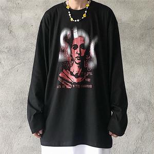 【トップス】ストリート系長袖暗黒系図柄プリントオーバーサイズTシャツ32843074