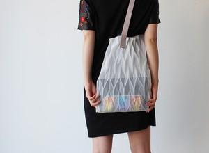 zero:Pleats bag - L(ヘリンボーン)プリーツ・バッグ L:ショルダーバッグ 軽い 透ける 透明感
