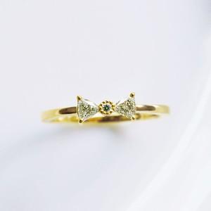 K18 トリリアントダイヤモンドのリボンリング 0.14ct 【受注制作】