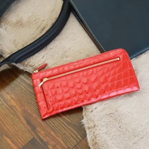 【NANIWAYA】エナメルクロコ・L型長財布(赤)