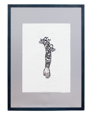 Michaël Cailloux Etching mic-66    Tatoo arm  エッチング  アート 額装品