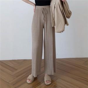 【bottoms】パンツ無地シンプルハイウエストカジュアル合わせやすい