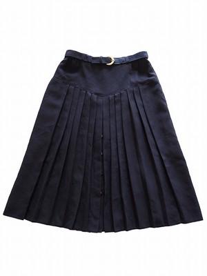 【ドイツ】 ベルト付ウール混プリーツスカート
