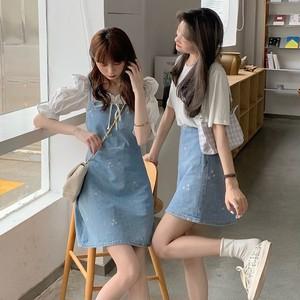 デイジー柄デニムワンピース・Aラインスカート S2134