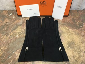 HERMES H LOGO LEATHER GLOVE MADE IN FRANCE/エルメスHロゴレザーグローブ