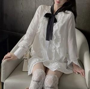 white frill ribbon dress