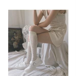 ホワイト花柄ソックス