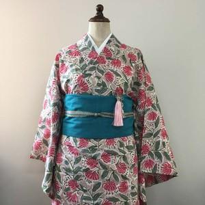 インド綿の二部式浴衣 おはしょり付き ピンクベージュ x 花柄