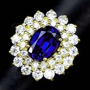 大人気な花柄デザイン! 1.3ct サファイア リング 指輪 14号 アフリカ産
