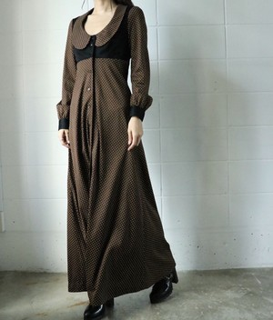 70's brown dots long dress