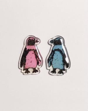 『MikuU』ケープペンギン達の耳飾り(ピンク・水色)