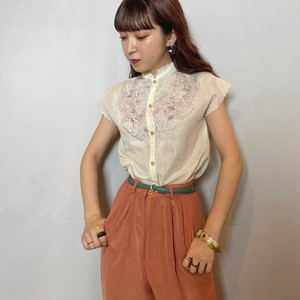 (LOOK) embroidery french sleeve shirt