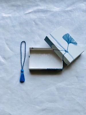 小箱<スウェーデンの紙/銀杏|Ginkgo-blue01>