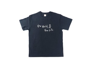 """New World, New Life"" シルクプリントTシャツ(ブラック)"