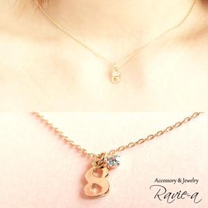 ネックレス 8 ソウルナンバー ゴールド シンプル ラインストーン 華奢 小さなネックレストップ プチネックレス