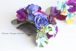 青紫の春のお花のヘッドドレス(5点セット)