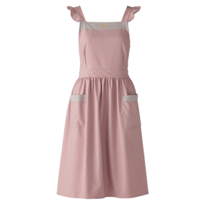 Bycolor frill apron / バイカラー フリル エプロン(ピンク × グレー)