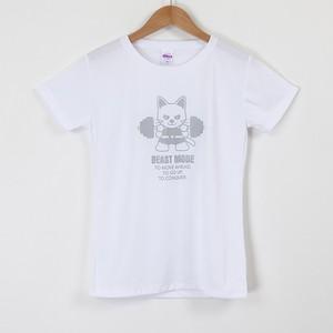 【BEAST MODE】スポーツ特化Tシャツ(ドライシルキータイプ)レディース 猫