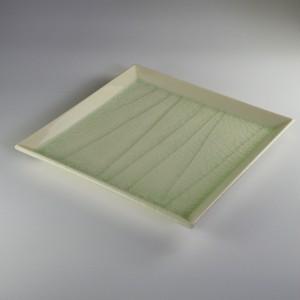 オフケソギ角皿(大) [ 20.3 x 20.3 x 2.2cm ] 【黒と白】