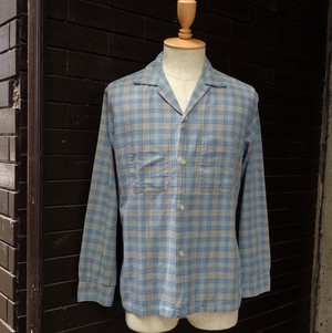 """50's """"Towncraft"""" Check Patterned Open Collar Long Sleeve Shirt  50年代 """"タウンクラフト"""" チェック 開襟 長袖 シャツ"""