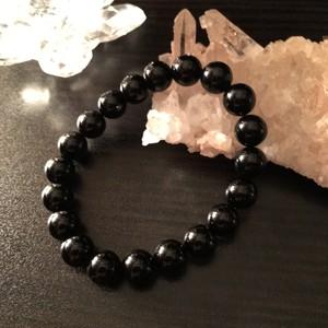 黒水晶(モリオン)邪気祓いブレス / 10㎜玉-17.5㎝