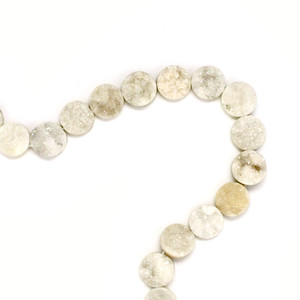 [天然石 パーツ]ドゥルージー カボション12mmラウンド(ホワイト)1個 D0245