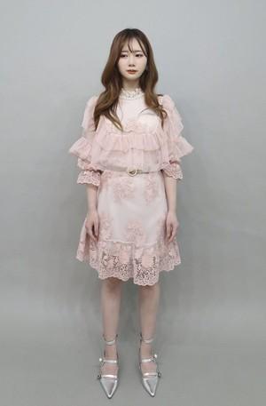 フリルレース刺繍ドレス