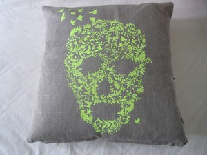 Linen Cushion-Flower Skull
