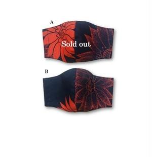 ML49 浴衣リメイクハスノマスク(Lサイズ・黒×オレンジ)