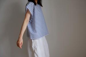 スクエアー フレンチスリーブ シャツ / コットン ボーダー 【 白に紺 】 / square french sleeve shirt cotton stripe【white & navy blue】 boat neck