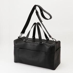 【牛革】ステッチスクエアボストンバッグ〈BLACK〉 本革 ボストン 大容量 ショルダーバッグ メンズ W9114
