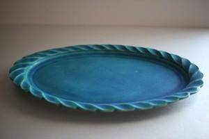 うつわうたたね|リムしのぎオーバル皿26㎝ トルコ青