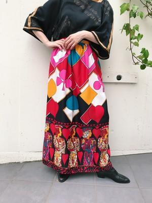 Vintage black × multi color trump maxi skirt ( ヴィンテージ ブラック × マルチカラー マキシスカート )