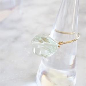 14kgf*宝石質Green Amethyst wrapped ring