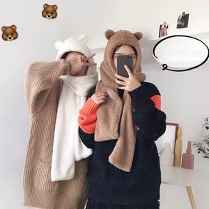 【小物】合わせやすい韓国風新作マフラーと帽子一体暖かいマフラー