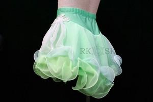 フィギュアスケート 練習用パンツ付きスカート エメラルドグリーン×レース  sk0011