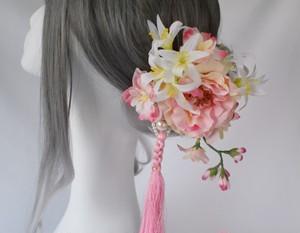 和装髪飾り 『ピオニー×ネリネ』8点セット