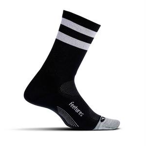 Feetures|ELITE LIGHT CUSHION MINI CREW - 21 Black High Top Stripe
