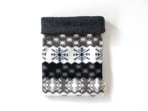 ハリネズミ用寝袋 M(冬用) フリース×フリース 雪の結晶 グレー