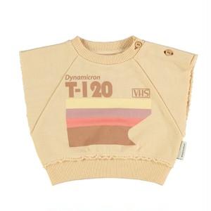 【piupiuchick】Sleeveless sweatshirt . cotton fleece sand w/multicolor print (SS21.FLP2114)