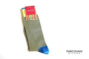 マリコリアーニ|marcoliani|ピマコットンクルー丈ボーダーソックス|Palio Stripe|266 Lemon yellow