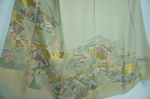 豪華総織り 平安絵巻 色留袖 正絹 五つ紋 金糸 薄柳色 159