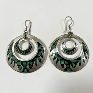 Vintage Inlaid Crushed Malachite 925 Silver Pirced Earrings Made In Mexico
